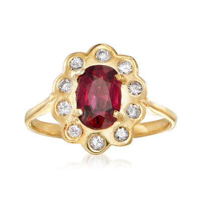 C. 1980 Vintage 1.08 Carat Ruby and .25 ct. t.w. Diamond Ring in 18kt Yellow Gold