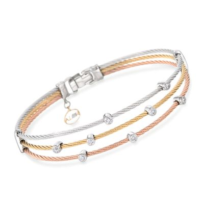 "ALOR ""Classique"" .18 ct. t.w. Diamond Tri-Colored Cable Bracelet with 18kt Two-Tone Gold, , default"