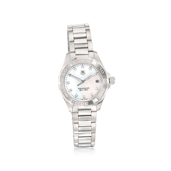TAG Heuer Aquaracer 32mm Women's .11 Carat Total Weight Diamond Watch in Stainless Steel, , default
