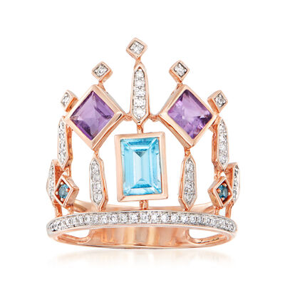 C. 1980 Vintage 1.23 ct. t.w. Multi-Gemstone Crown Ring with .75 ct. t.w. Diamonds in 14kt Rose Gold