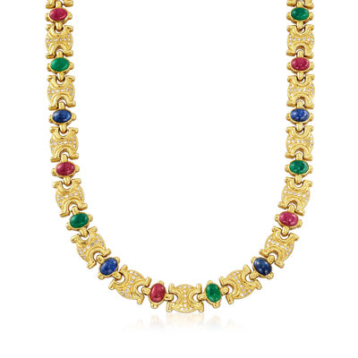 C. 1980 Vintage 29.70 ct. t.w. Multi-Stone and 2.30 ct. t.w. Diamond Link Necklace in 18kt Gold, , default