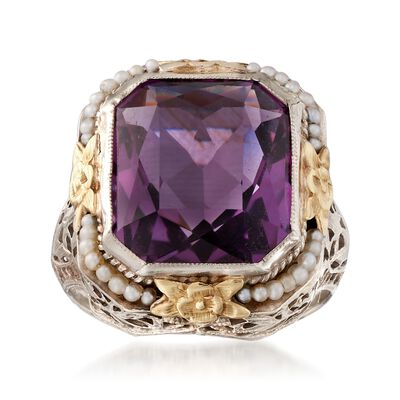 C. 1950 Vintage 7.50 Carat Amethyst Ring with Cultured Seed Pearls in 14kt Two-Tone Gold, , default