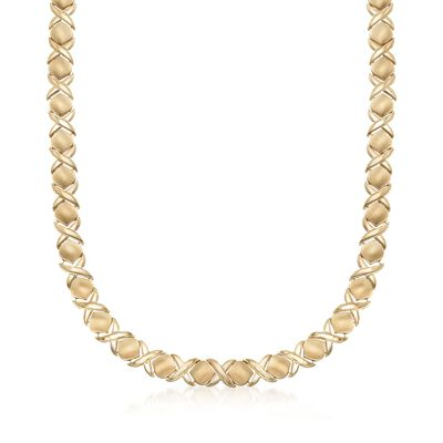 C. 2000 Vintage 14kt Yellow Gold XO Necklace, , default
