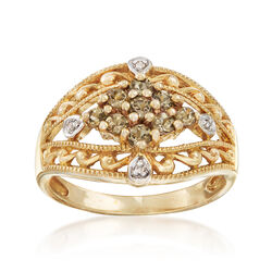 C. 1990 Vintage .50 ct. t.w. White Topaz Floral Ring With Diamond Accents in 10kt Yellow Gold, , default
