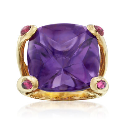 C. 2000 Vintage 17.00 Carat Amethyst and .40 ct. t.w. Pink Tourmaline Ring in 18kt Yellow Gold, , default