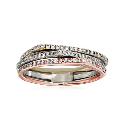 C. 1980 Vintage .45 ct. t.w. Diamond Three-Row Ring in 18kt Tri-Colored Gold, , default
