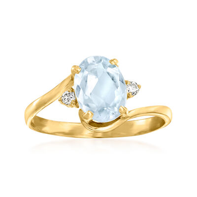 C. 1980 Vintage 1.15 Carat Aquamarine Ring with Diamond Accents in 14kt Yellow Gold