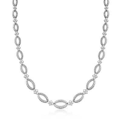 "C. 2005 Vintage Kwiat ""Crescent"" 11.45 ct. t.w. Diamond Open Oval Link Necklace in 18kt White Gold, , default"