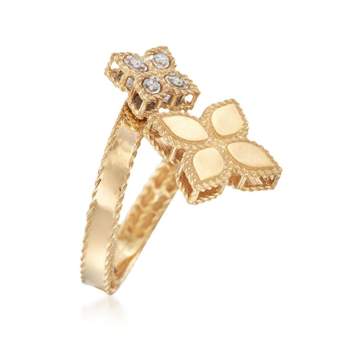 "Roberto Coin ""Princess"" .17 ct. t.w. Diamond Flower Bypass Ring in 18kt Yellow Gold"