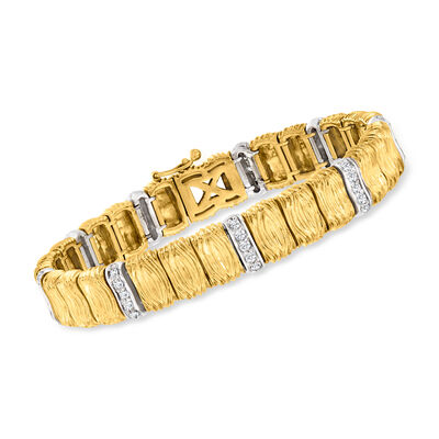 C. 1980 Vintage 1.00 ct. t.w. Diamond Section Bracelet in 18kt Yellow Gold