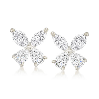 C. 1980 Vintage 1.10 ct. t.w. Diamond Floral Earrings in 18kt White Gold