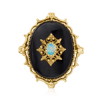 C. 1980 Vintage Opal and Black Onyx Pin/Pendant in 14kt Yellow Gold