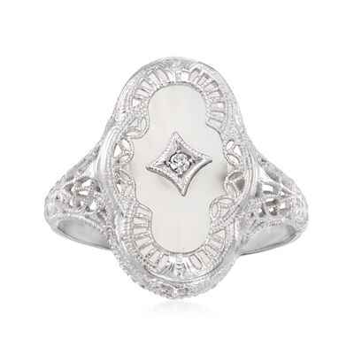 C. 1950 Vintage Crystal Ring with Diamond Accent in 14kt White Gold
