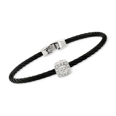 "ALOR ""Noir"" Black Cable Station Bracelet with Diamond Accent and 18kt White Gold, , default"
