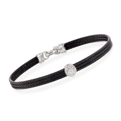 "ALOR ""Classique"" Diamond Station Black Cable Bracelet with 18kt White Gold"