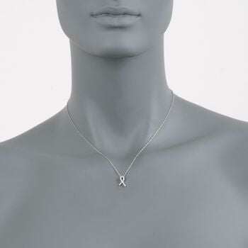 "Roberto Coin Tiny Treasures Diamond Accent Hope Necklace in 18-Karat White Gold. 18"", , default"