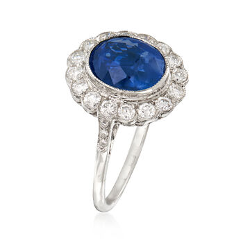 3.20 Carat Sapphire and .70 ct. t.w. Diamond Ring in 18kt White Gold. Size 7