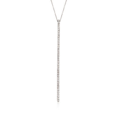 Gabriel Designs 1.00 ct. t.w. Diamond Vertical Bar Necklace in 14kt White Gold