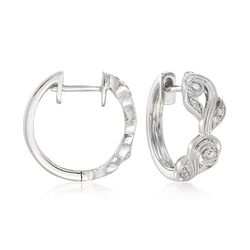 "Simon G. ""Vintage Explorer"" .14 ct. t.w. Diamond Floral Hoop Earrings in 18kt White Gold, , default"