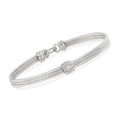 "ALOR ""Classique"" Gray Cable Station Bracelet with Diamond Accents and 18kt White Gold"