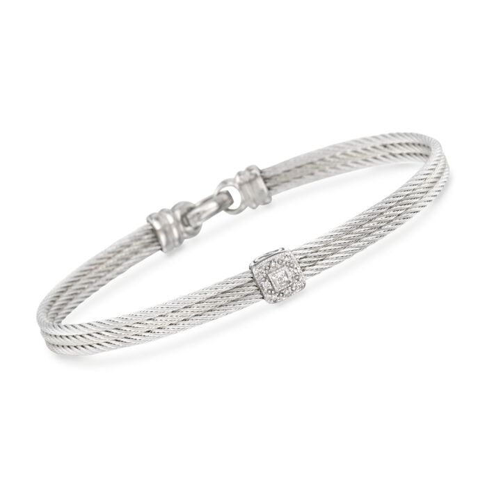 "ALOR Classique Diamond Station Bracelet in Stainless Steel with 18-Karat White Gold. 7"", , default"