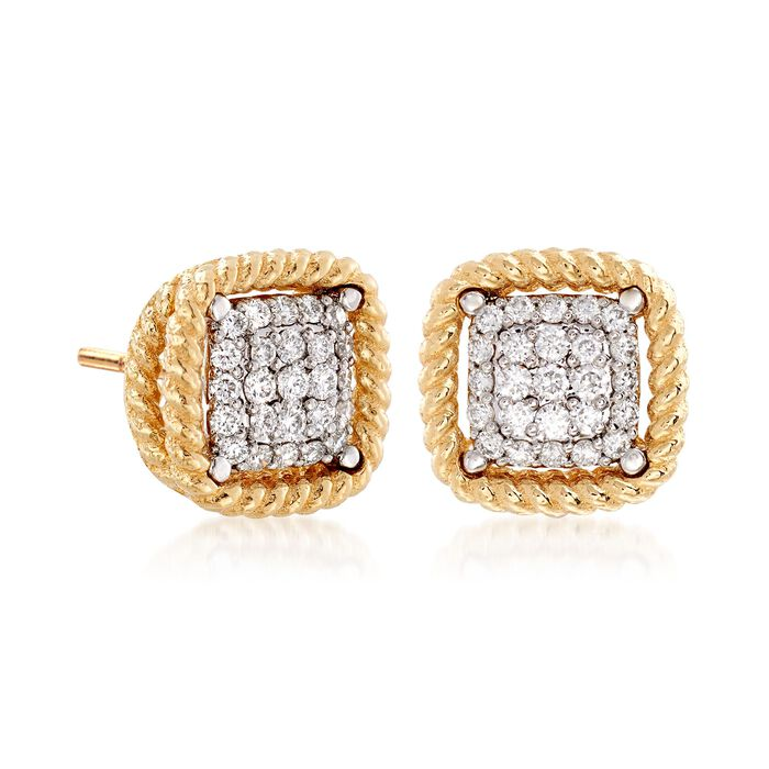 """Roberto Coin """"Barocco"""" .30 ct. t.w. Diamond Square Earrings in 18kt Yellow Gold"""
