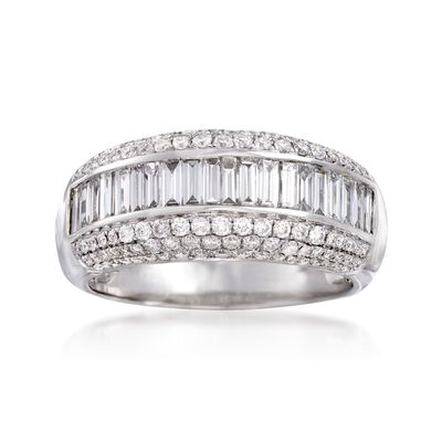 C. 1990 Vintage 2.00 ct. t.w. Round and Baguette Diamond Ring in 14kt White Gold, , default