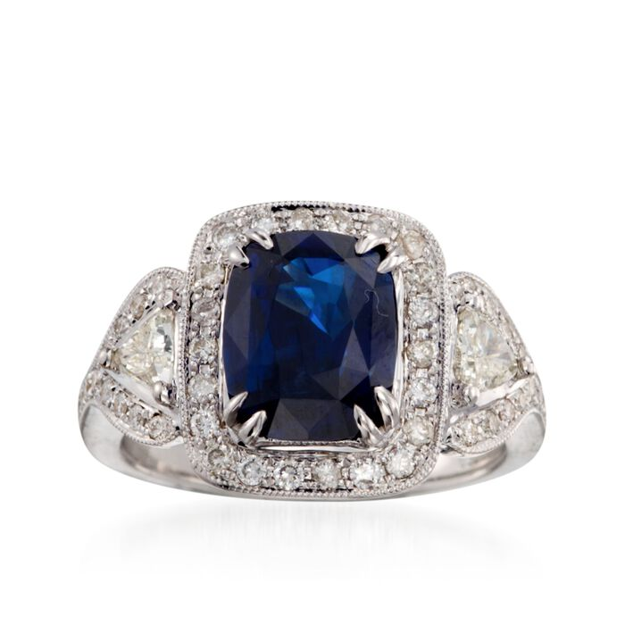 C. 2000 Vintage 3.57 Carat Sapphire and 1.15 ct. t.w. Diamond Ring in 18kt White Gold. Size 6, , default