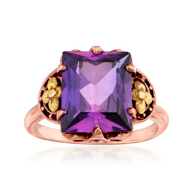 C. 1940 Vintage 6.85 Carat Purple Synthetic Sapphire in 10kt Rose Gold