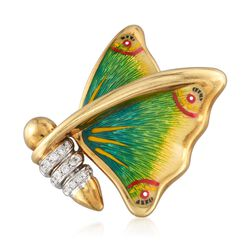 C. 1980 Vintage .20 ct. t.w. Diamond Butterfly Pin With Multicolored Enamel in 18kt Gold, , default