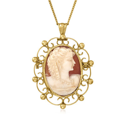 C. 1970 Vintage Pink Shell Cameo Pendant Necklace in 18kt Yellow Gold