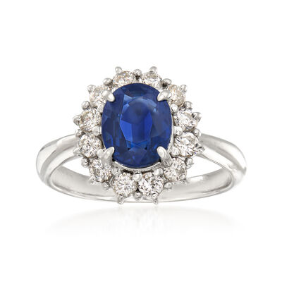 2.17 Carat Sapphire and .68 ct. t.w. Diamond Ring in Platinum