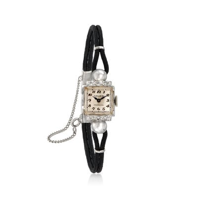 C. 1950 Vintage Gruen Woman's .15 ct. t.w. Diamond 13mm Mechanical Watch in 14kt White Gold