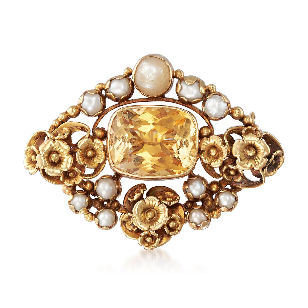 19a5e0fbf17b6 C. 1940 Vintage 7.00 Carat Citrine and Pearl Pin in 18kt Yellow Gold