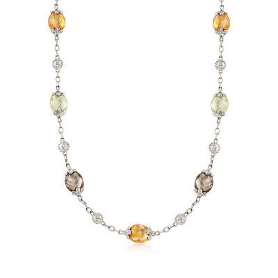 C. 1990 Vintage 112.00 ct. t.w. Multicolored Quartz and .80 ct. t.w. Diamond Necklace in 14kt White Gold, , default