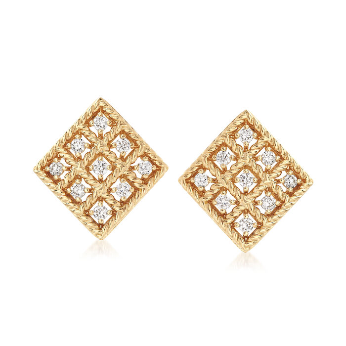 "Roberto Coin ""Byzantine Barocco"" .30 ct. t.w. Diamond Small Square Earrings in 18kt Yellow Gold, , default"