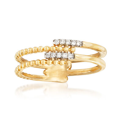 Gabriel Designs Diamond-Accented Beaded Bar Ring in 14kt Yellow Gold, , default