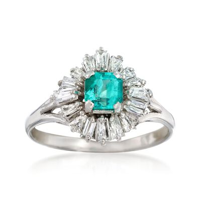 C. 1980 Vintage.60 Carat Emerald and .75 ct. t.w. Diamond Ring in Platinum, , default