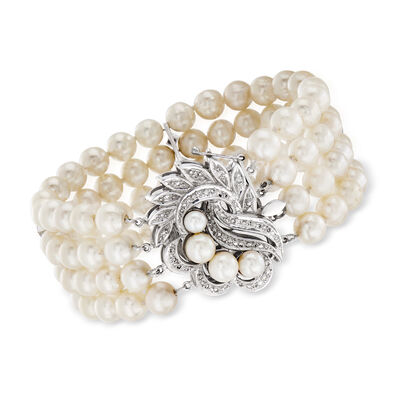 C. 1970 Vintage 4-6.5mm Cultured Pearl and .50 ct. t.w. Diamond Multistrand Bracelet in 14kt White Gold, , default