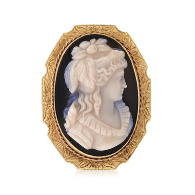 C. 1920 Vintage Black Agate Cameo Pin in 18kt Yellow Gold