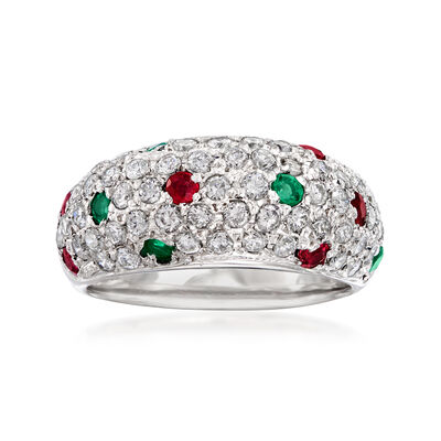 C. 2000 Vintage 1.01 ct. t.w. Diamond, .34 ct. t.w. Ruby and .30 ct. t.w. Emerald Ring in Platinum