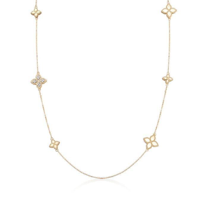 "Roberto Coin ""Princess"" .17 ct. t.w. Diamond Floral Station Necklace in 18kt Two-Tone Gold"