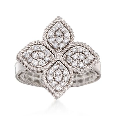 "Roberto Coin ""Princess"" .45 ct. t.w. Diamond Flower Ring in 18kt White Gold, , default"