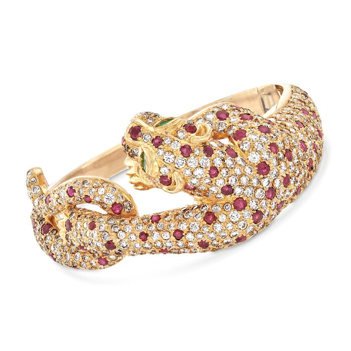 "C. 1980 Vintage 16.00 ct. t.w. Diamond and 6.00 ct. t.w. Ruby Panther Bangle Bracelet in 18kt Yellow Gold. 7"", , default"