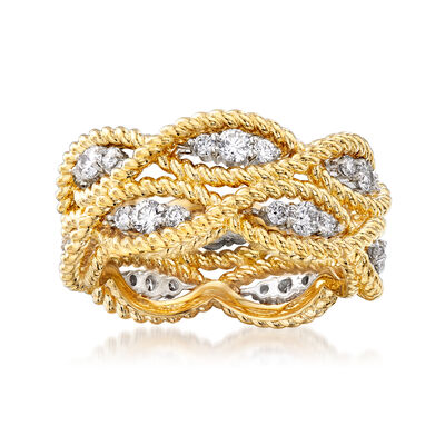 "Roberto Coin ""Barocco"" .95 ct. t.w. Diamond Roped Ring in 18kt Two-Tone Gold, , default"