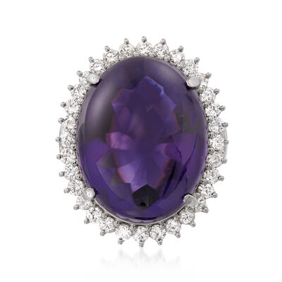 C. 1990 Vintage Oval 31.05 Carat Amethyst and 1.21 ct. t.w. Diamond Ring in Platinum