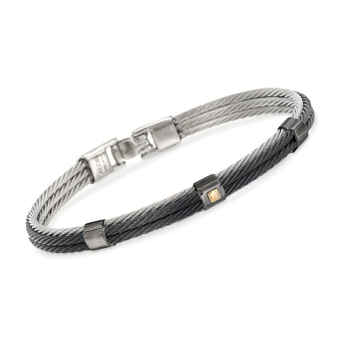 "ALOR Men's Black and Gray Stainless Steel Cable Station Bracelet with 18kt Yellow Gold. 7.75"", , default"