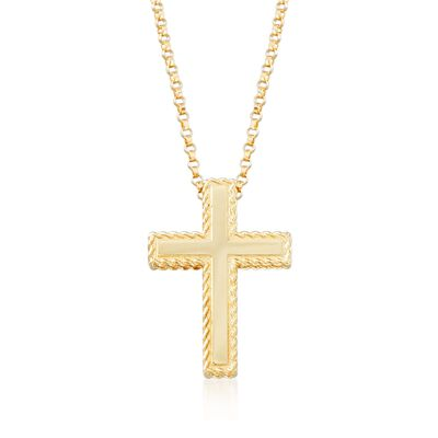 "Roberto Coin ""Princess"" 18kt Yellow Gold Cross Pendant Necklace, , default"