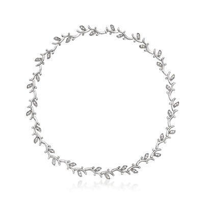 C. 1980 Vintage 2.25 ct. t.w. Diamond Leaf Vine Necklace in 18kt White Gold