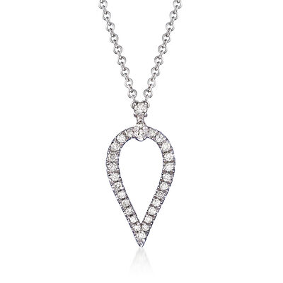 Gabriel Designs .17 ct. t.w. Diamond Open Teardrop Pendant Necklace in 14kt White Gold, , default